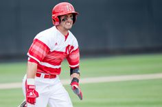 Michael Pritchard runs to first base during the first inning of Nebraska's first game against Cal State Fullerton at the NCAA baseball tournament on May 30, 2014 at the Allie P. Reynolds Stadium in Stillwater, Oklahoma. By: SARAH HOFFMAN/THE WORLD-HERALD