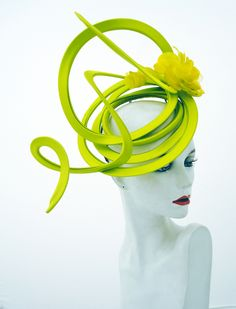 Playful lime green John Boyd Ascot hat. Dye to match service available for all bespoke orders. www.johnboydhats.co.uk