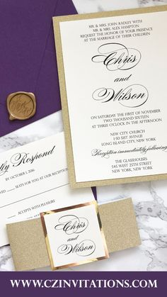 Purple and Gold Glitter invitation! This classic set is perfect for all wedding seasons. this plum / purple / eggplant color is so shimmery in person! Order your sample or get your free swatches today! #goldinvite #purpleinvitation Plum Wedding Invitations, Purple Wedding Invitations, Unique Invitations, Printable Invitations, Invitation Design, Wedding Stationery, Purple Wedding Decorations, Gold Glitter Wedding
