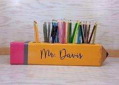 Signo de maestro maestro aprecio regalo, regalo personalizado, profesor lápiz signo, Decor, decoración aula, organizador, profesor regalo
