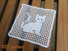 Crochet pattern cat kitten pattern crochet small doily crochet coaster nice gift PDF crochet doily DIY pattern PDF doily pattern kitty doily - Care - Skin care , beauty ideas and skin care tips Diy Crochet Patterns, Doily Patterns, Crochet Crafts, Crochet Projects, Diy Crafts, Lace Doilies, Crochet Doilies, Crochet Lace, Filet Crochet
