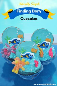 Finding Dory Cupcakes. Have a Finding Dory, Finding Nemo or an ocean party coming up? Here is an easy to follow guide to decorating your very own adorably simple Finding Dory cupcakes!
