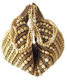 Handmade Satin Beadwork Potli Bag- Brown: GiftPiper.com- This elegant beadwork potli bag is made of satin cloth.