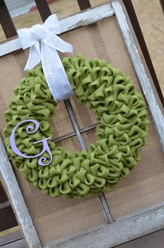 Spring Green Burlap Wreath with Burlap Bow. $45.00, via Etsy.