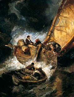 Eugène Isabey - Bateau dans une tempête
