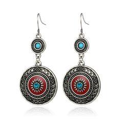 Vintage Ethnic Style Brincos Bohemian Antique Silver Plated Red Enamel Rhinestone Acrylic Flower Drop Earrings For Women HotSale