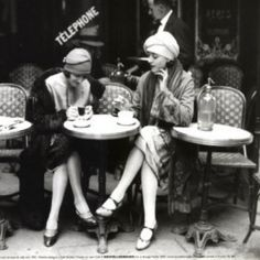 2 WOMEN PARIS Cafe FRENCH Vintage CANVAS Antique PHOTO Giclee Art Print - LARGE