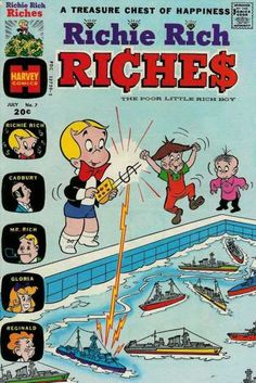 A cover gallery for the comic book Richie Rich Riches Vintage Comic Books, Vintage Comics, Richie Rich Comics, Comic Book Publishers, Remote Control Boat, American Comics, Comic Book Covers, Comic Book Characters, Childhood Memories