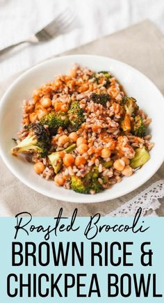 Make this easy roasted broccoli, brown rice and chickpea bowl! It's drizzled with a quick soy-mustard dressing! Make this easy roasted broccoli, brown rice and chickpea bowl! It's drizzled with a quick soy-mustard dressing! Whole Food Recipes, Cooking Recipes, Healthy Recipes, Vegan Brown Rice Recipes, Chickpea Rice Recipe, Fast Recipes, Vegetarian Broccoli Recipes, Vegetarian Rice Dishes, Veggie Rice Bowl