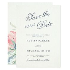Blue Peonies Wedding Save the Date Card