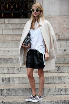 Leather skirt oversized jacket