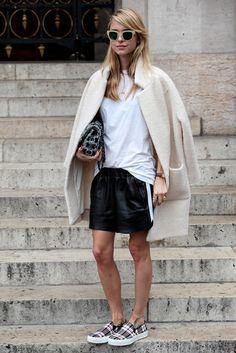 Leather skirt oversized jacket