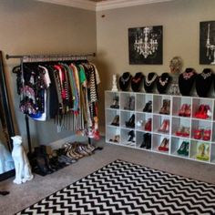 Home Design. Turning Apartment Bedroom Into A Closet Featuring Strong Iron Hanging Rail For Dress And Standing Wooden Frame Mirror Ideas Plus White Wooden Rack From Maple Wood Along With Rack In White For Shoes Collection Also Black And White Zigzag Flooring Mats. Turning A Bedroom Into Winsome A Closet