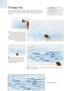 Seach Press Watercolor Beginner, Watercolor Ocean, Watercolor Tips, Watercolor Projects, Watercolour Tutorials, Watercolor Landscape, Landscape Paintings, Water Art, Water Drawing