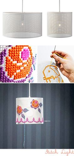 Cross Stitch on a mesh lamp shade!