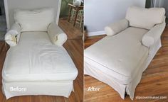 Nothing like a slipcover makeover to make the dog-chewed arm disappear! slipcovermaker.com
