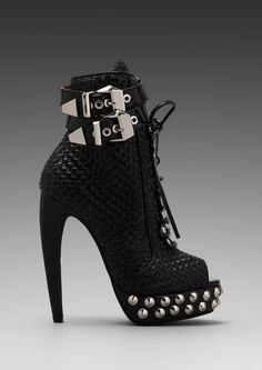 Rudy Embellished Open Toe Boot in Black