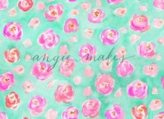 Pink and Teal Cute Watercolor Flower Pattern - Angie Makes Stock Shop