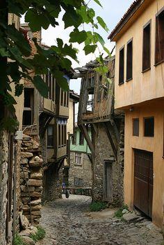 Narrow cobbled street . Cumalıkızık Turkey