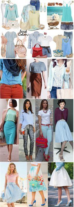 Сочетание голубого цвета в одежде Нежные оттенки голубого создают как пастельные, так и контрастные пары. Его пары это белый, бледно-желтый, джинсово-голубой, нежно-розовый, нежно-зеленые оттенки. Яркими и гармоничными будут сочетания голубого и коричневого, темно-синего, красного, оранжевого, пурпурного. К голубому относятся и бирюзовые тона (см. сочетания бирюзового цвета в одежде).