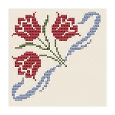 Tulpen-Eckmotiv - Olde Worlde Embroidery