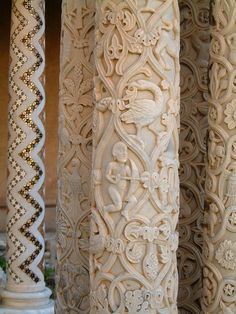 ,,,carved columns from the Monreale Cathedral in Sicily, Italy