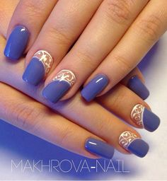 A beautiful Purple nail art design. The purple polish is accompanied by a beautiful lace design in white polish in order to accentuate the colors more clearly.