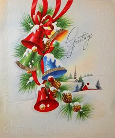 Vintage Greeting Card Christmas Bells 1950s
