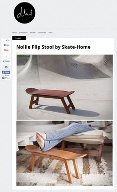 Skate-Home is a new company that combines two passions, skateboarding and interior design. They make original furniture always inspired by the skateboard shape. Our pick from their collection is the stylish Nollie Flip Stool, made with Canadian maple wooden frame and skateboard. The stool is available in several colors.