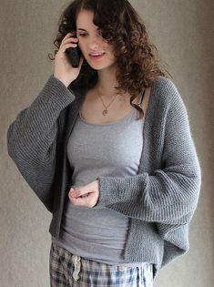 Knitting Pattern for Madam Secretary Cardigan - Garter-stitch cocoon cardigan with dolman (batwing) sleeves that was inspired bya sweater worn by Téa Leoniin the tv seriesMadam Secretary. Designed by Carol Sunday.Sized to fit: XS (S, M, L, XL, 2XL, 3XL