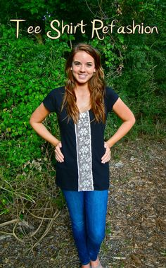 Sweet Verbena: T-Shirt Refashion. Get a cheap shirt, some cute lace, and sew it up the middle!