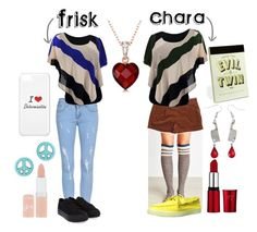 """Frisk and Chara"" by boopie-1956 ❤ liked on Polyvore featuring Sperry Top-Sider, Tommy Hilfiger, RelavenO, Rimmel, Miss Selfridge, Evil Twin, chara, undertale and frisk"