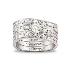 """Today, Tomorrow, Always"" Engraved Diamond 3 Band Ring Hidden Message Of Love Diamond Women's Ring Handcrafted solid sterling silver with 11 genuine diamonds. Engraved sentiments inside each band to wear together or individually $129.00"