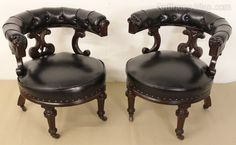 Splendid Pair Of William IV Leather Library Chairs - Antiques Atlas
