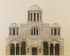 Elevation of Hagioi Apostoloi church in Thessaloniki. Russian lithograph, c. Byzantine Architecture, Church Architecture, Thessaloniki, Early Christian, Architectural Drawings, Ghosts, Notre Dame, Empire, Collections