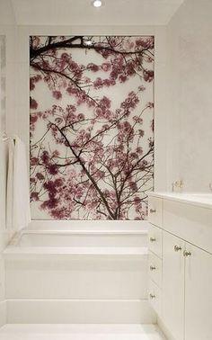 Bathroom artwork. Great idea for contrast wall on shelves.