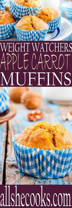 Healthier for your muffins recipe. You'll love this tasty Weight Watchers Apple Carrot Muffin recipe. Perfect for breakfast or snacking.