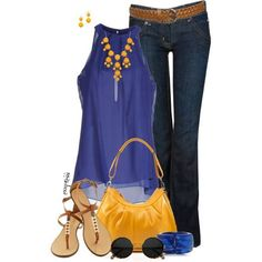 Blue, Yellow, Brown, Jeans Outfit