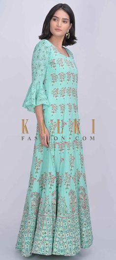 Buy Online from the link below. We ship worldwide (Free Shipping over US$100)  Click Anywhere to Tag Turq blue anarkali dress with printed floral and paisley pattern only on Kalki Turq blue cotton silk anarkali dress with printed floral and paisley pattern.Crafted with round neckline, 3/4th circular flounce sleeves and U back with tassel dori.