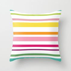 Modern Stripes Pillow Cover - Striped Pillow - Yellow Pink Orange Green - Modern Throw Pillow - Home Decor - By Aldari Home by AldariHome on Etsy
