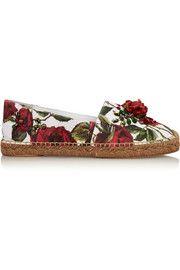 Dolce & GabbanaEmbellished rose-print jacquard espadrilles