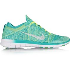Nike Free TR Flyknit mesh sneakers ($160) ❤ liked on Polyvore featuring shoes, sneakers, green, multicolor shoes, mesh shoes, nike footwear, green shoes and laced shoes