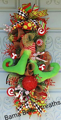 Elf feet door swag Door Swag, Elf, Christmas Wreaths, Centerpieces, Holiday Decor, Home Decor, Decoration Home, Room Decor, Elves