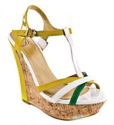 8693bbbc0f26 Usha By Delicious Strappy Platform Cork Wedge Sandal yellow patent  colorblock 85 M -- Check this awesome product by going to the link at the  image.