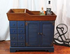 1960's Ethan Allen Dry sink painted Sailor Blue with bronze hardware