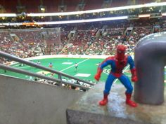 Spidey at a Philadelphia Wings game.  He's a fan.