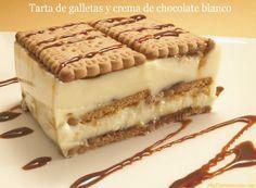 Tarta de galletas y crema de chocolate blanco | Recetas Thermomix | MisThermorecetas