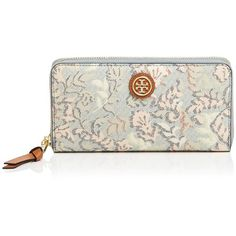Tory Burch Wallet - Kerrington Zip Continental ($139) ❤ liked on Polyvore featuring bags, wallets, dahlia combo, tory burch, floral print wallet, white bag, zip around wallet and flower print bag