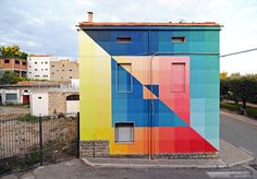 """""""Two Surfaces And Four Intersections, 88 Tones"""" is the latest piece by Alberonero which was recently completed somewhere on the streets of Santa Croce di Magliano in Italy."""