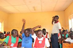 Students at a school in Jinja, Uganda, having a child sacrifice prevention workshop yesterday.
